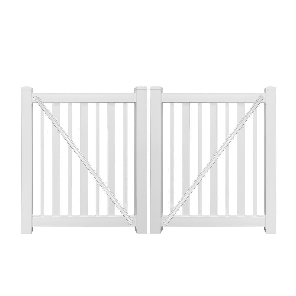 h white vinyl pool double fence gate