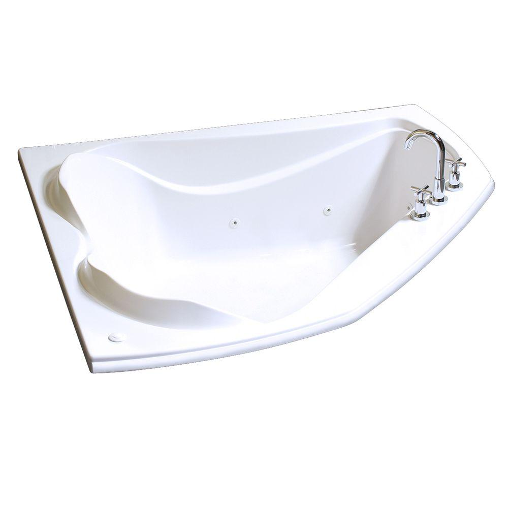 MAAX Cocoon 60 in. Acrylic End Drain Corner Drop-in Whirlpool ...