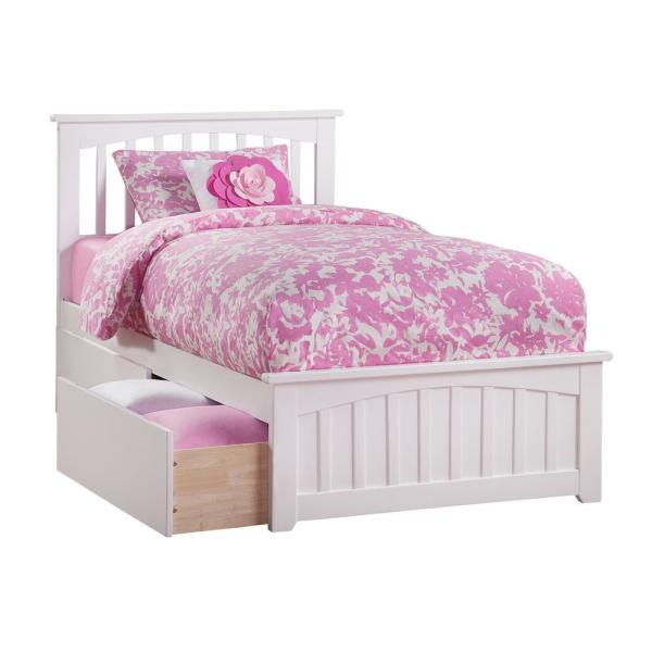 Atlantic Furniture Mission White Twin XL Platform Bed with Matching Foot