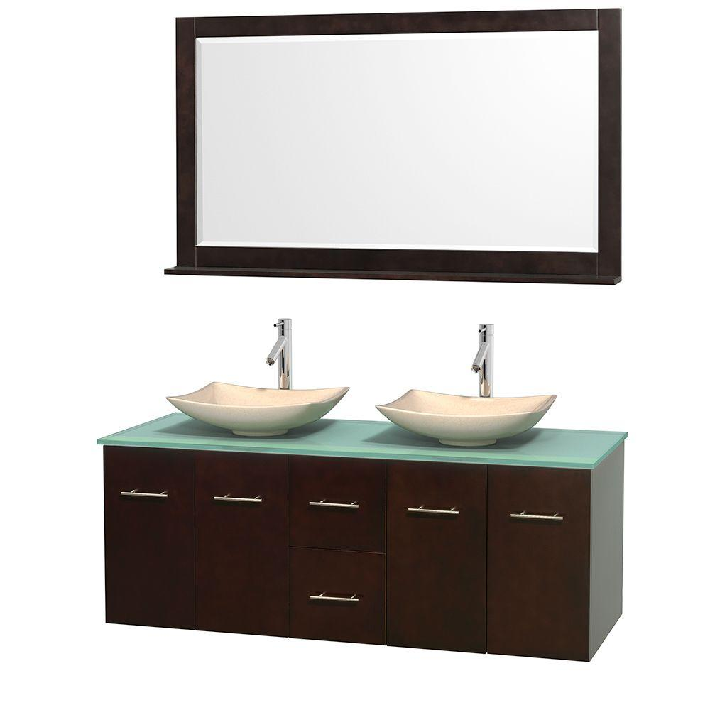 Wyndham Collection Centra 60 in. Double Vanity in Espresso with Glass Vanity Top in Green, Ivory Marble Sinks and 58 in. Mirror
