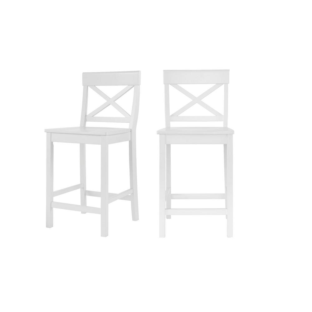 Cedarville White Wood Counter Stool with Cross Back (Set of 2) (19.42 in. W x 38.22 in. H)
