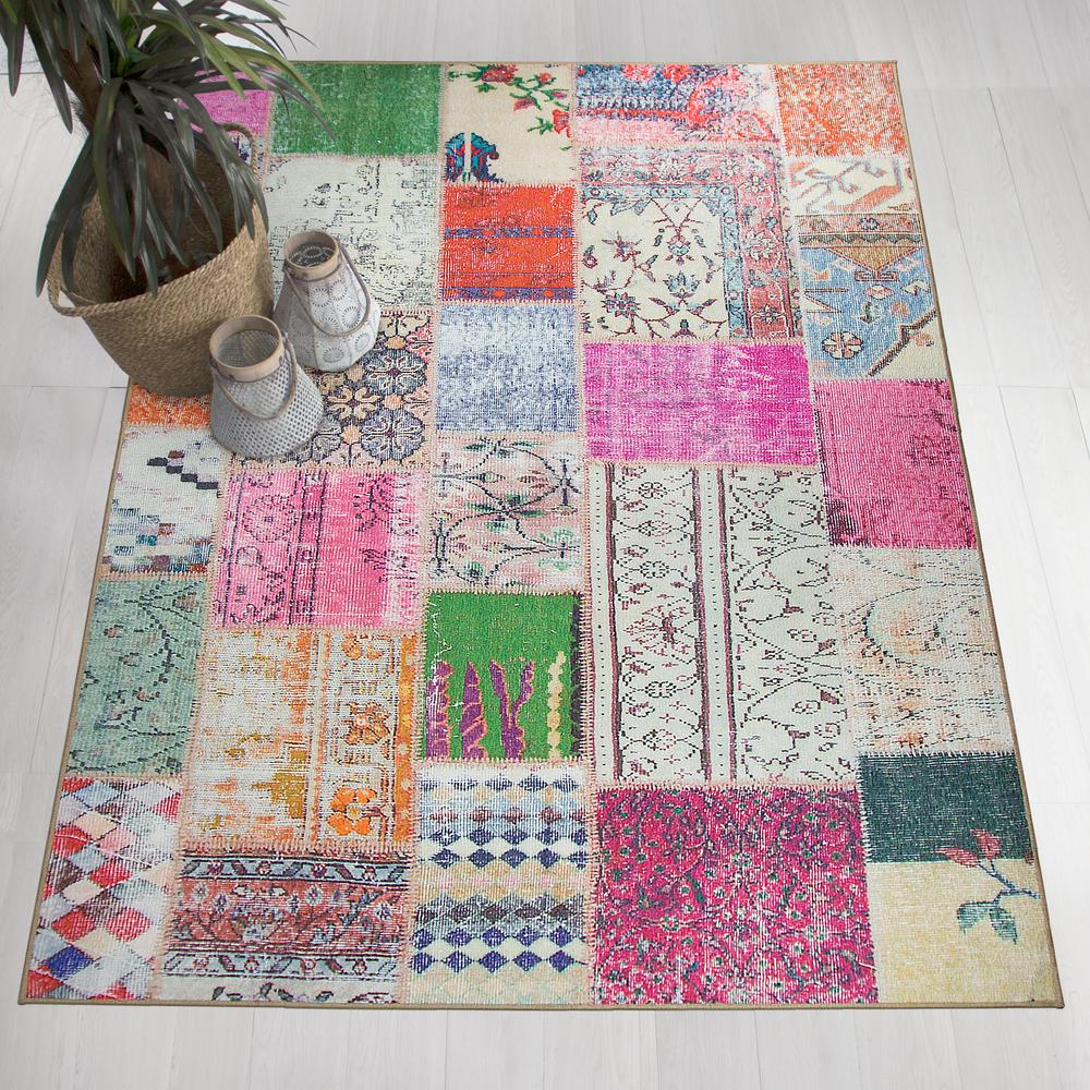 Ruggable Washable Patchwork Boho 5 Ft X 7 Ft Stain