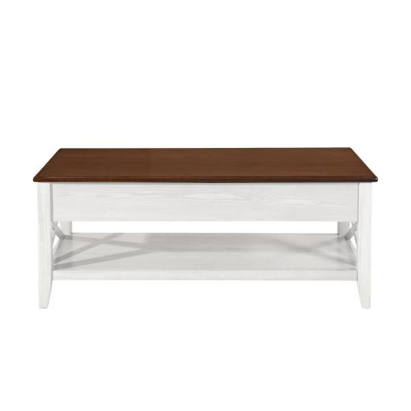 Noble House Decatur Farmhouse Brown and White Wooden Lift Top Coffee