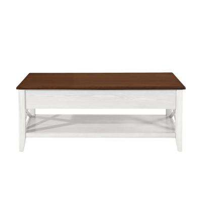 Decatur Farmhouse Brown and White Wooden Lift Top Coffee Table