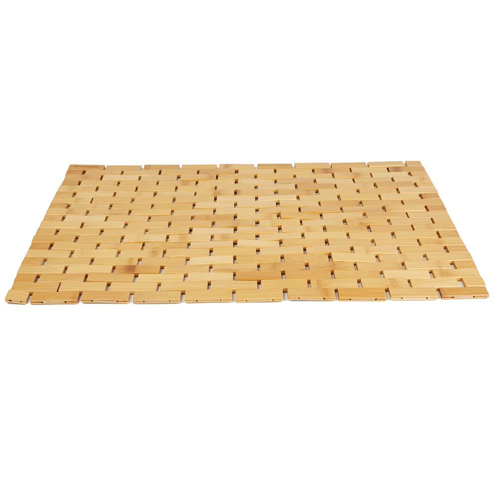 Mind Reader Bamboo Brown 23.5 in. W x 16.5 in. L Luxury Roll Up Shower Bath Anti-Slip Mat