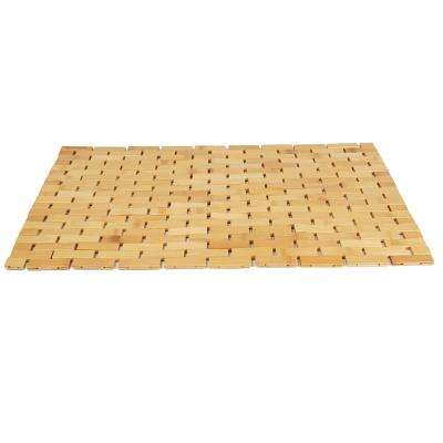 Bamboo Brown 23.5 in. W x 16.5 in. L Luxury Roll Up Shower Bath Anti-Slip Mat