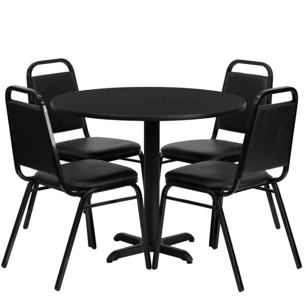 5-Piece Black Top/Black Vinyl Seat Table and Chair Set