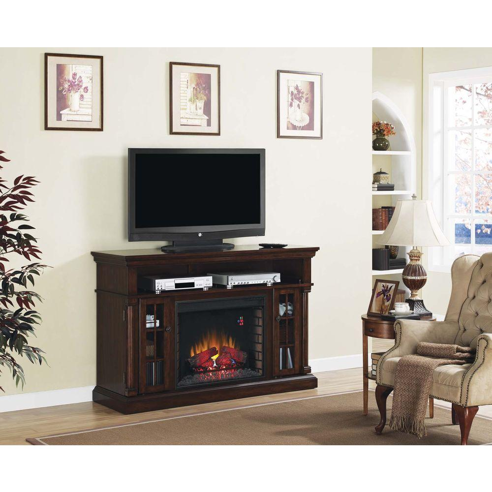 Chimney Free Brookville 60 in. Media Console Electric Fireplace in Pecan Cherry