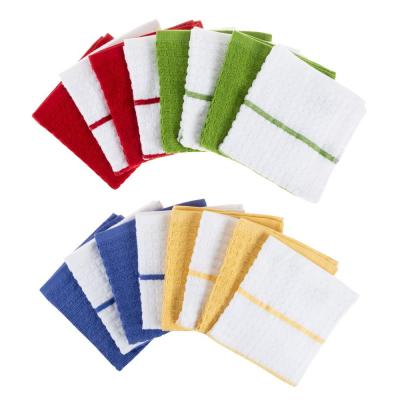 Multi-Color Waffle Weave Striped and Solid Color Cotton Kitchen Dish Cloth Set (16-Pieces)
