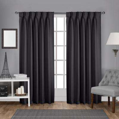 Sateen 30 in. W x 96 in. L Woven Blackout Pinch Pleat Top Curtain Panel in Charcoal (2 Panels)