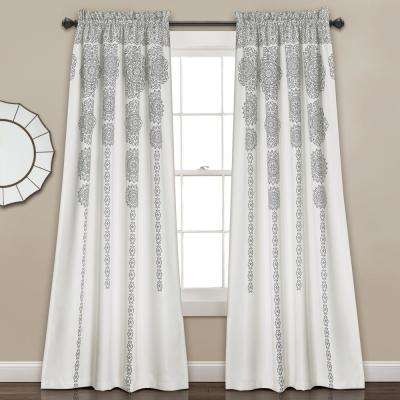84 in. x 52 in. and 2 in. Polyester Stripe Medallion Window Panels Gray Header (2-Piece)