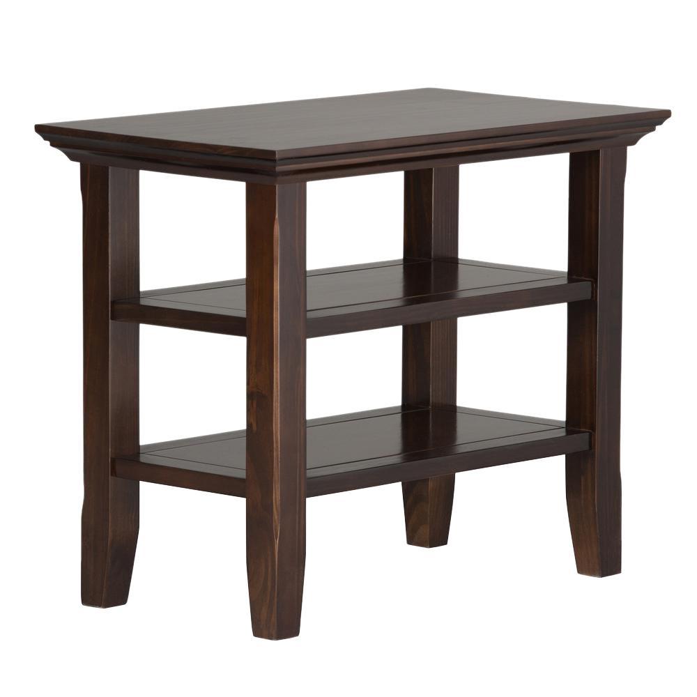 Acadian Solid Wood 14 in. Brunette Brown Wide Rustic Narrow Side Table
