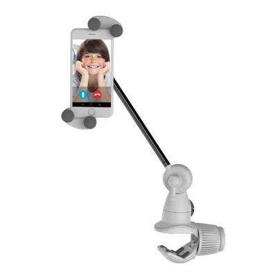 """Barkan 4"""" to 12"""" Portable, Full-Motion, Multi-Position Smartphone & Tablet Mount, White, Firm Device Clamp"""