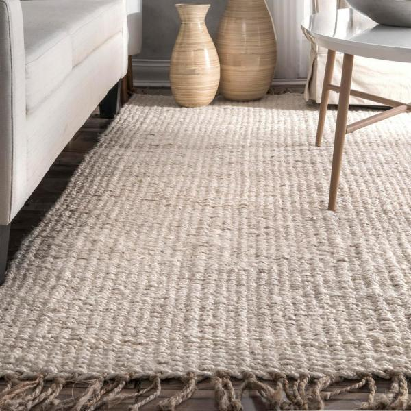 Reviews For Nuloom Benavides Tassel Jute Off White 5 Ft X 8 Ft Area Rug Clal01a 508 The Home Depot