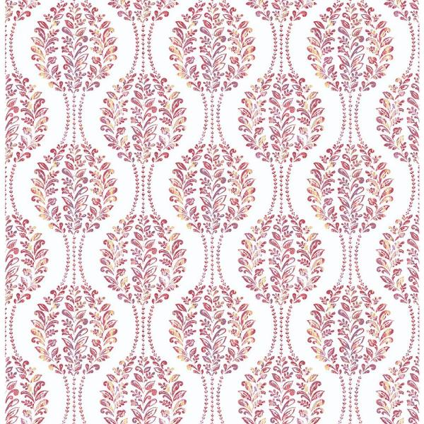 A-Street Versailles Magenta Floral Damask Wallpaper Sample 2702-22741SAM