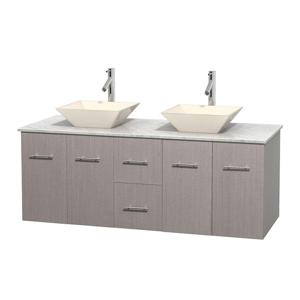Wyndham Collection Centra 60 in. Double Vanity in Gray Oak with Marble Vanity Top in Carrara White and Bone Porcelain Sinks