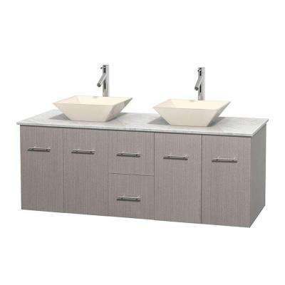 Centra 60 in. Double Vanity in Gray Oak with Marble Vanity Top in Carrara White and Bone Porcelain Sinks