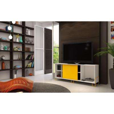 Nacka 2.0 White and Yellow Storage Entertainment Center