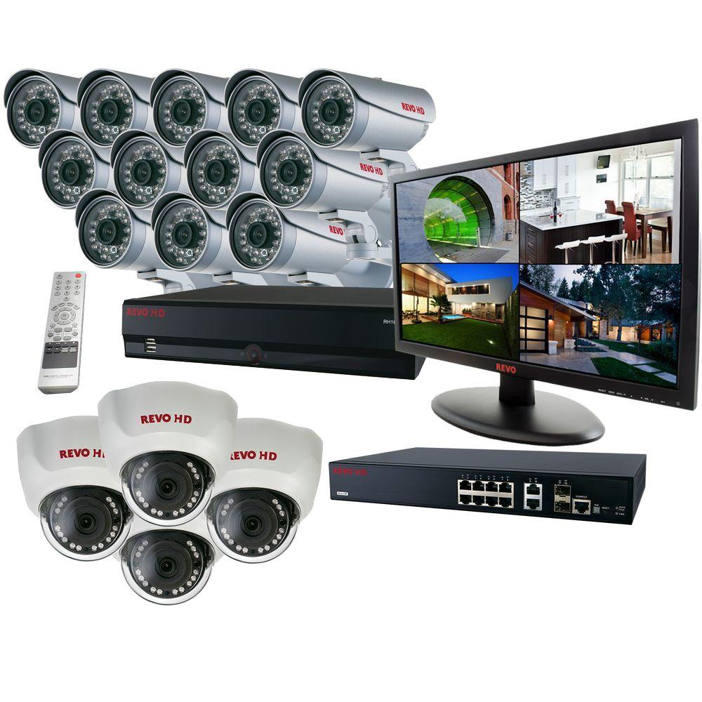 Revo 16 Ch. HD 8TB NVR Surveillance System with Built-In 8 Ch. POE Switch (16) 1080p HD Cameras 23 HD Monitor and Direct IP 8