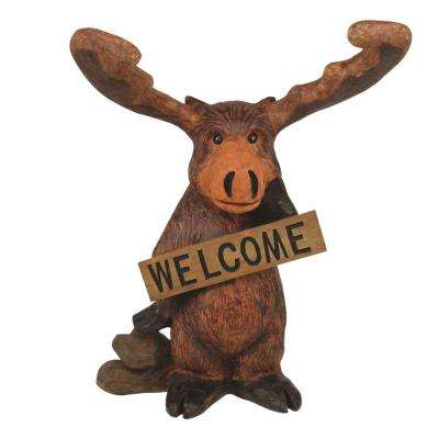 14-1/2 in. Standing Moose Welcome Home and Garden Statue