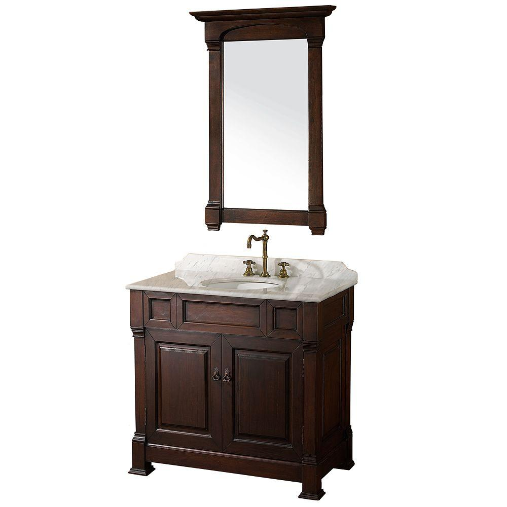 Andover 36 in. Vanity in Dark Cherry with Marble Vanity Top in Carrera White and Mirror