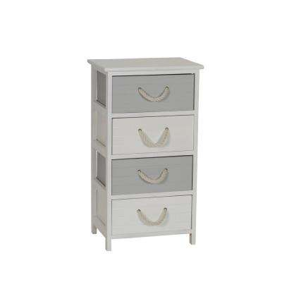 Seaside 4-Drawer Storage Side Table in White