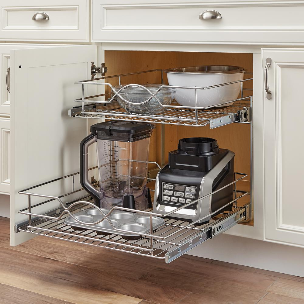 Home Decorators Collection 20 In Double Tier Wire Pull Out Basket