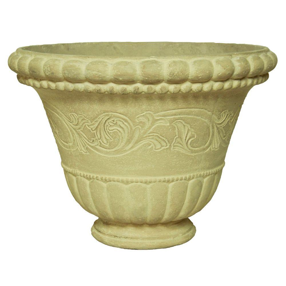 MPG 18 in. Round Aged Limestone Low Bowl Planter