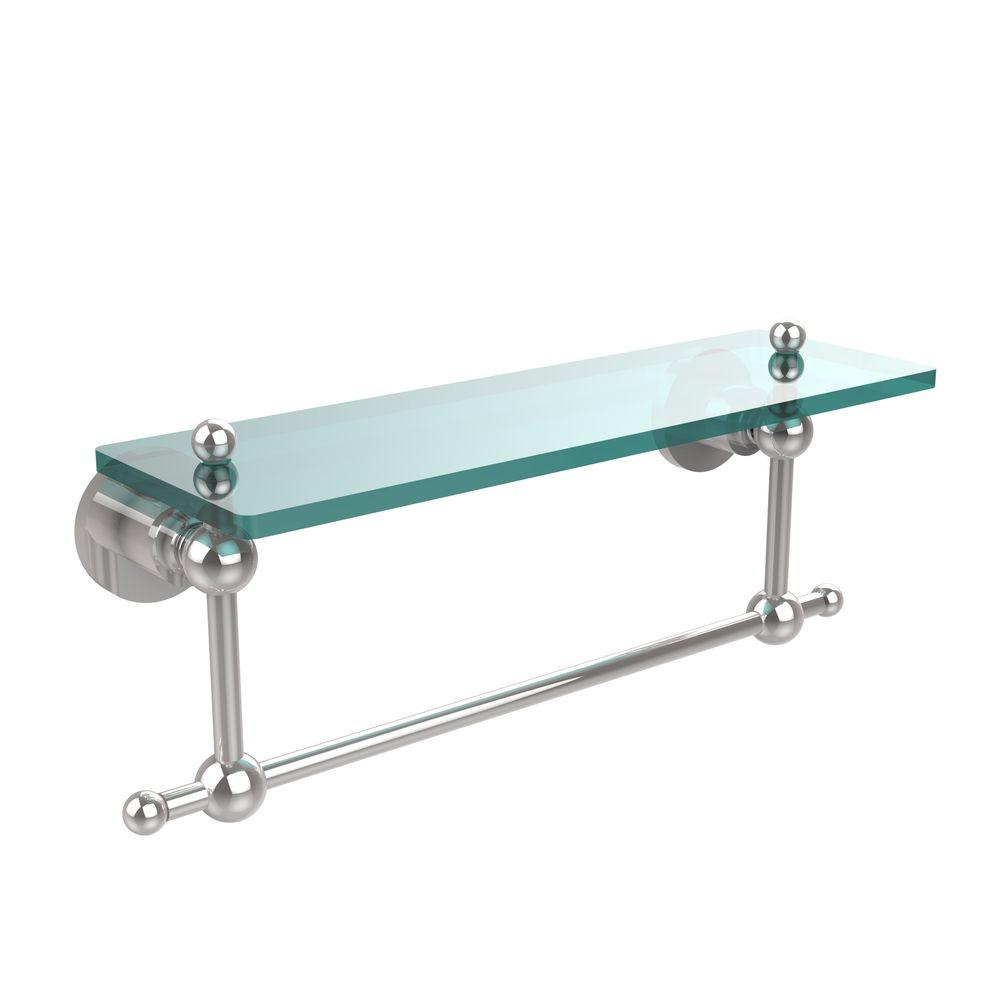 Allied Brass Astor Place 16 in. L  x 4 in. H  x 5 in. W  Clear Glass Vanity Bathroom Shelf with Towel Bar  in Polished Chrome
