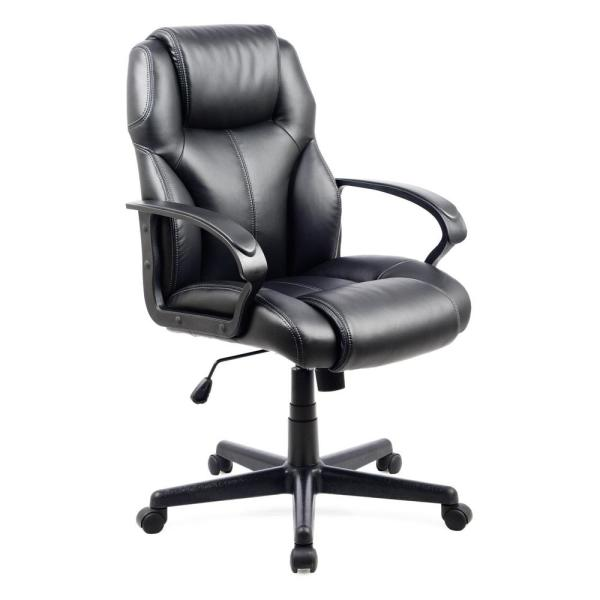 CorLiving Workspace Black Leatherette Managerial Office Chair WHL-203-C