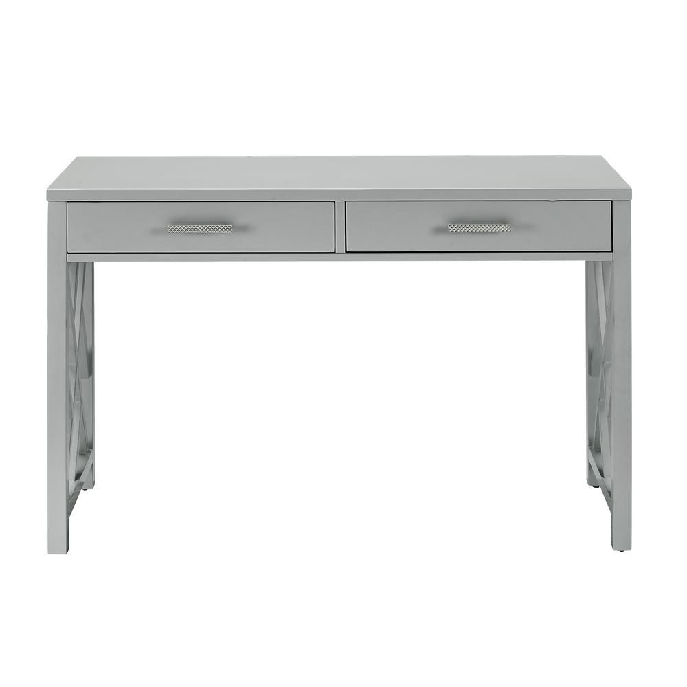 Glam Lattice Grey 2-Drawer Wooden Desk