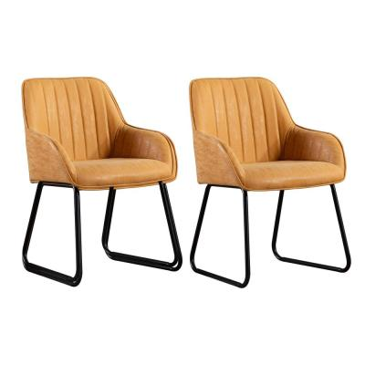 Ajaccio Tan Synthetic Leather Midcentury Dining Accent Chair (Set of 2)