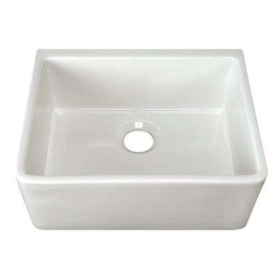 Brooke Apron Front Fireclay 23 in. Single Bowl Kitchen Sink in White