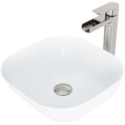 Camellia Matte Stone Vessel Bathroom Sink Set with Amada Faucet in Brushed Nickel