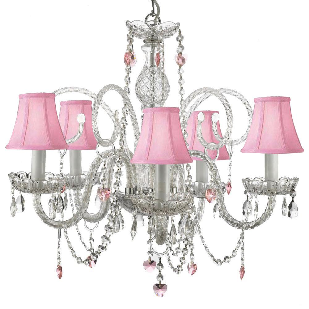 Empress Swarovski Crystal Trimmed 5 Light Plug In Chandelier With Pink Shades And Hearts