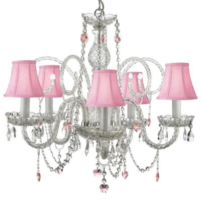 Empress Swarovski Crystal Trimmed 5-Light Plug-In Crystal Chandelier with Pink Shades and Pink Crystal Hearts