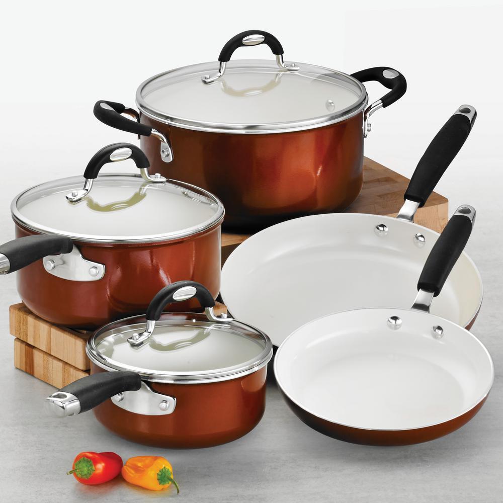 Tramontina Style Ceramica 8-Piece Metallic Copper Cookware Set with Lids