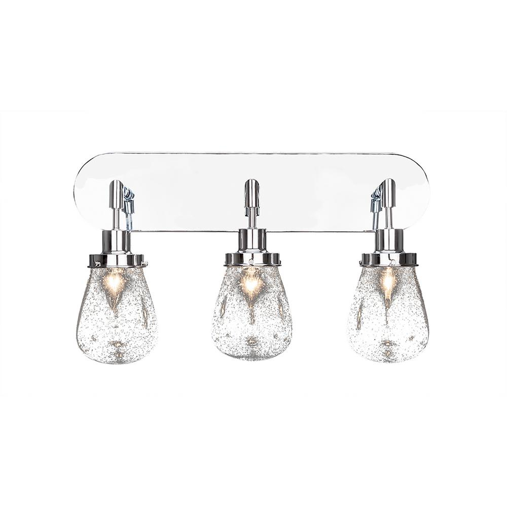 3 Light 23 In Chrome Vanity With 5 Clear Bubble Gl