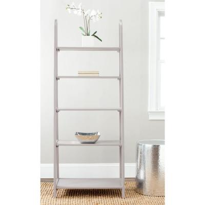 72.2 in. Quartz Gray Wood 5-shelf Ladder Bookcase with Open Back