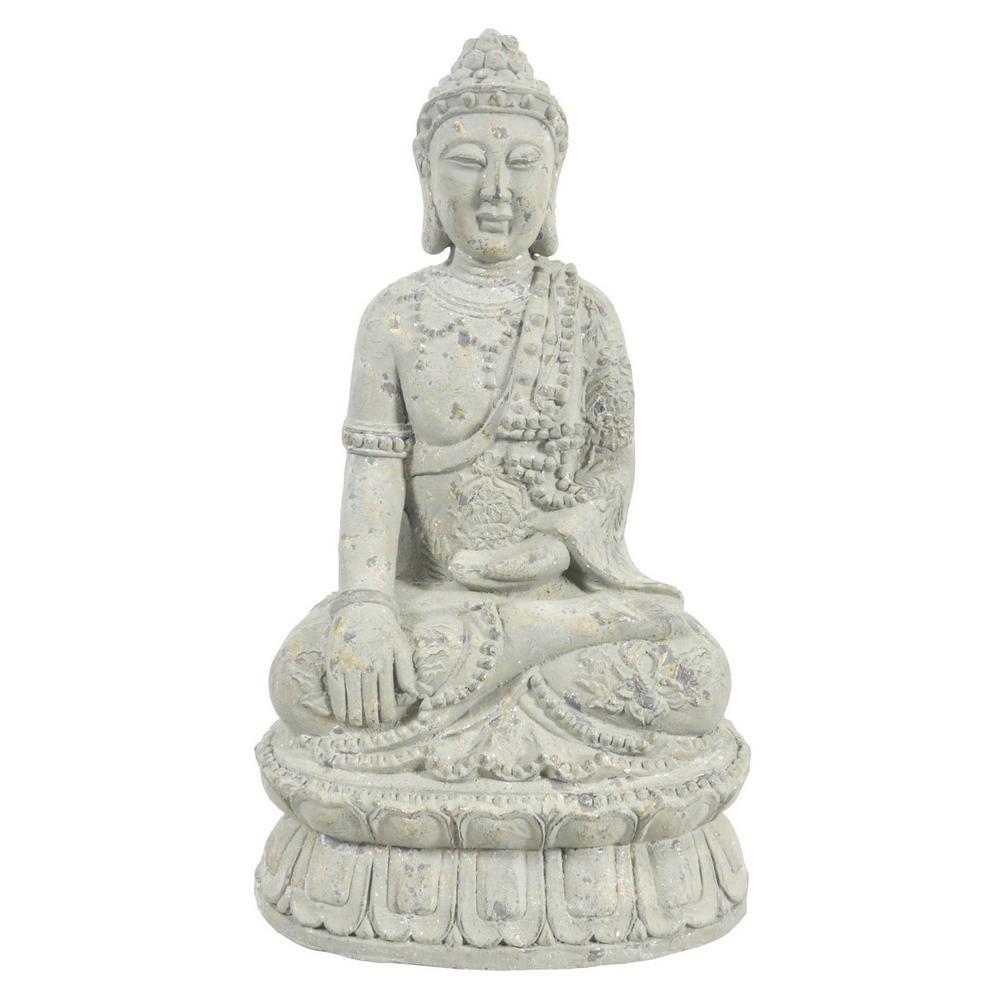 14 in. x 11.5 in. Resin Buddha Figurine in Gray