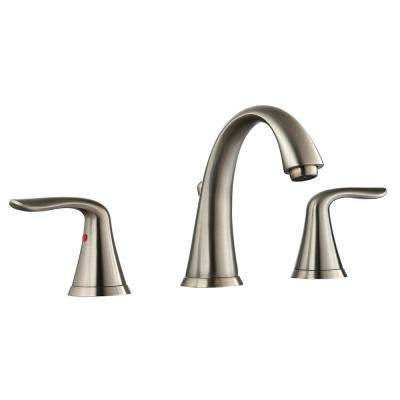 Bristol 8 in. Widespread 2-Handle Bathroom Faucet with Pop-Up Drain Assembly in Brushed Nickel