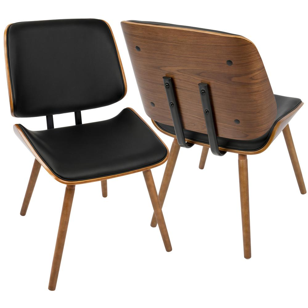 Lumisource lombardi walnut and black faux leather dining for Black leather kitchen chairs
