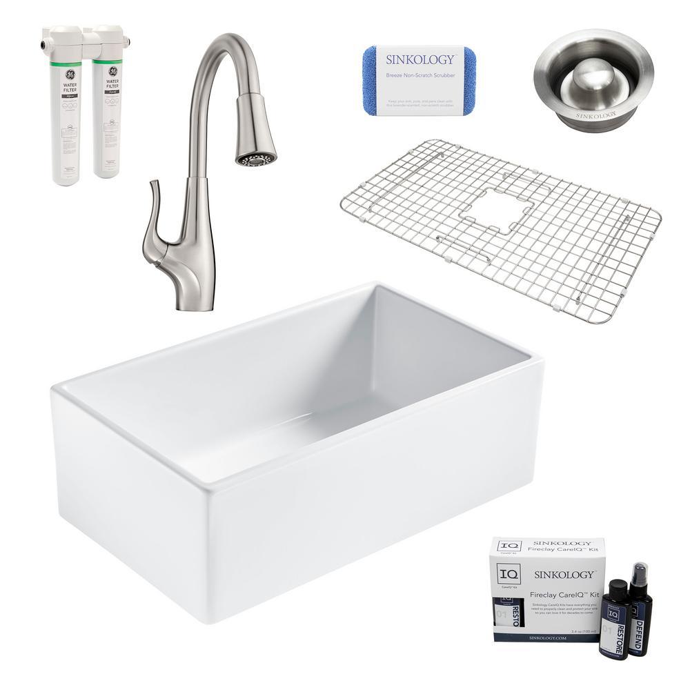 SINKOLOGY Bradstreet II All-in-One Farmhouse Fireclay 30 in. Single Bowl Kitchen Sink with Pfister Clarify Filtration Faucet