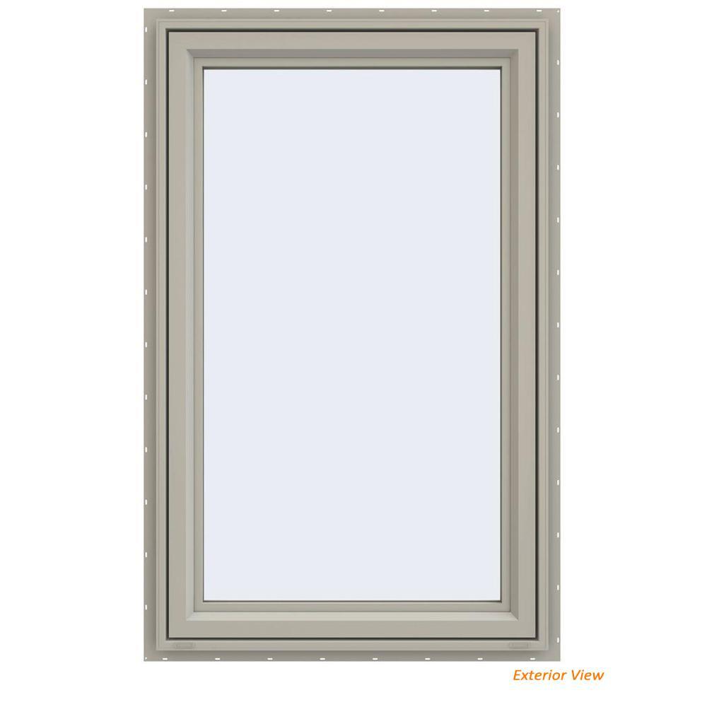 29.5 in. x 47.5 in. V-4500 Series Desert Sand Vinyl Left-Handed Casement Window with Fiberglass Mesh Screen