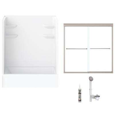 60 in. x 30 in. x 79 in. Bath and Shower Kit with Right-Hand Drain and Door in White and Brushed Nickel Hardware