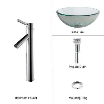 Glass Vessel Sink with Single Hole Single-Handle High-Arc Sheven Faucet in Chrome