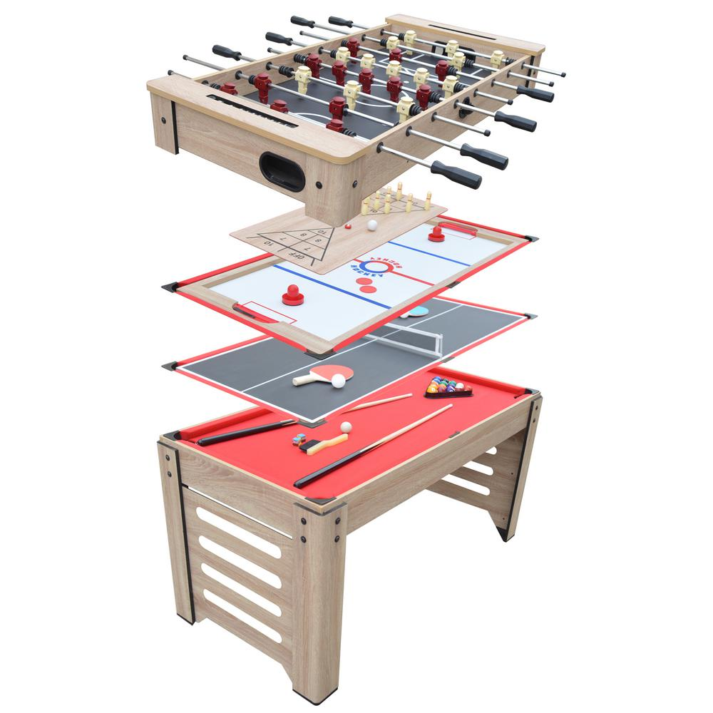54 in. Madison 6-in-1 Multi-Game Table with Foosball, Glide Hockey, Table