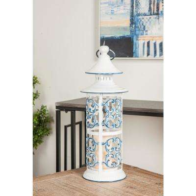 White And Blue Scrollwork Design Candle Lantern