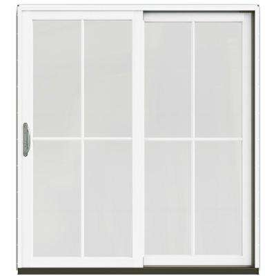 72 in. x 80 in. W-2500 Contemporary Silver Clad Wood Right-Hand 4 Lite Sliding Patio Door w/White Paint Interior