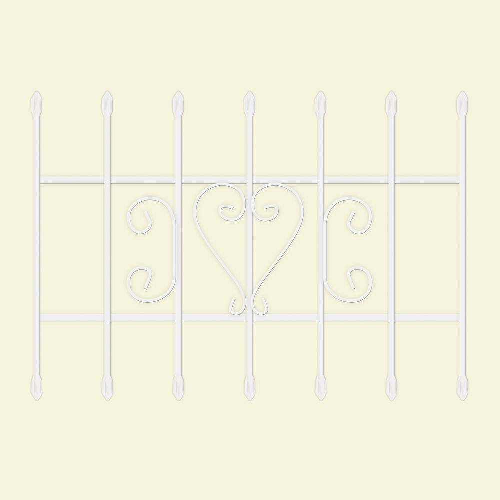 36 in. x 24 in. Su Casa White 7-Bar Window Guard